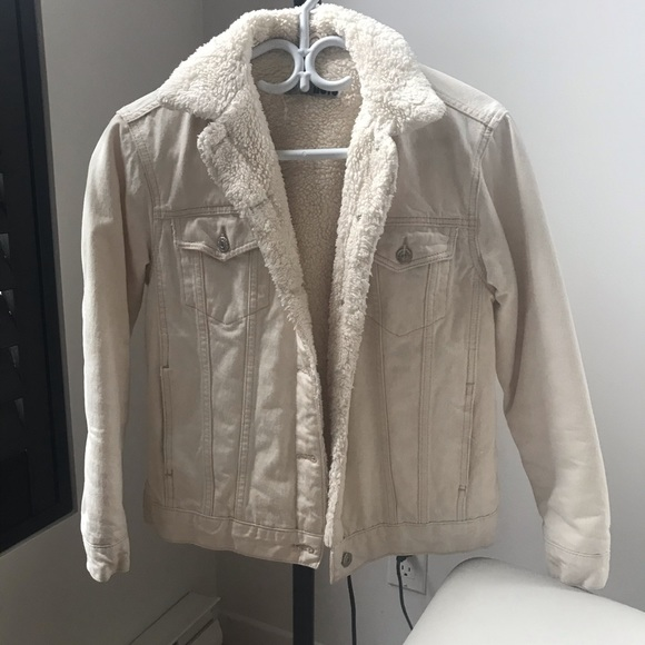 Topshop Moto denim sherpa cream jacket